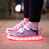 LED's Shoes Girls' Sneakers Light Up Shoes Synthetic Tulle Summer Fall Outdoor Athletic Casual Magic Tape LED Flat Heel Blushing Pink Silver Gold Flat