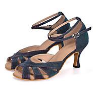 baratos Sapatilhas de Dança-Mulheres Sapatos de Dança Latina Tecido elástico Sandália / Salto / Têni Gliter com Brilho / Presilha / Vazados Salto Carretel Personalizável Sapatos de Dança Verde / Púrpura / Azul Claro / Couro