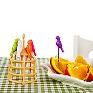 6 pcs cartoon pássaro design fruta garfo criativo ferramentas de cozinha decoração de casa