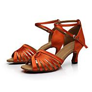 baratos Sapatilhas de Dança-Mulheres Sapatos de Dança Latina / Sapatos de Salsa Cetim Sandália Presilha Salto Personalizado Personalizável Sapatos de Dança Preto / Marrom / Laranja