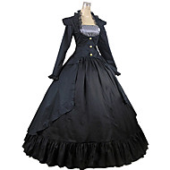 cheap -Victorian Medieval Square Neck Costume Women's Dress Party Costume Masquerade Black Vintage Cosplay Cotton Party Prom Long Sleeve Ankle Length Long Length Ball Gown Plus Size Customized