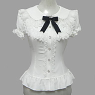Bluse/Skjorte Sød Lolita Prinsesse Cosplay Lolita Kjoler Hvid Blonde Pufærmer Kortærmet Lolita Bluse Til