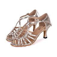billige Sambasko-Dame Sko til latindans Glimtende Glitter Sandaler / Hæle / Sneaker Glimtende glitter / Spænde / Udhulet Kegleformet hæl Kan tilpasses Dansesko Sølv / Blå / Gyldent / Ydeevne / Læder