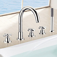 cheap Bathtub Faucets-Contemporary Roman Tub Handshower Included Ceramic Valve Five Holes Three Handles Five Holes Chrome, Bathtub Faucet