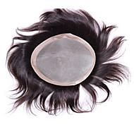 """6 """"* 8"""" erkekler için insan bakire saç parçaları mono baz peruk peruk 6 inç Peruksuz"""