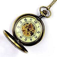 남성용 회중 시계 기계식 시계 오토메틱 셀프-윈딩 중공 판화 합금 밴드 골드