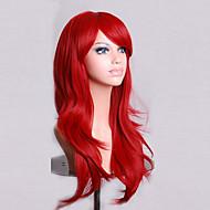 Syntetiske parykker Krøllet / Naturligt, bølget hår Assymetrisk frisure Syntetisk hår Natural Hairline Rød Paryk Dame Medium / Lang Lågløs