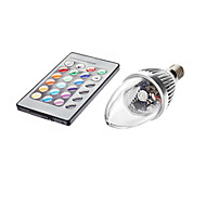 3W E14 LED 캔들 조명 C35 1 LED가 450-700lm RGB 리모컨 작동 AC 85-265