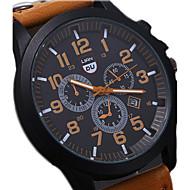 男性用 軍用腕時計 リストウォッチ スポーツウォッチ クォーツ カレンダー 耐水 レザー バンド ブラック ブラウン グリーン グレー