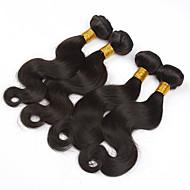 Cabelo Humano Cabelo Brasileiro Cabelo Humano Ondulado Onda de Corpo Extensões de cabelo 3 Peças Cor Natural