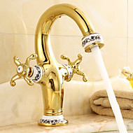 伝統風 センターセット 滝状吐水タイプ with  セラミックバルブ 一つ 二つのハンドルつの穴 for  アンティーク真鍮 , バスルームのシンクの蛇口