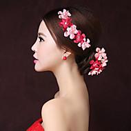billiga Brudhuvudbonader-tyg blommor hårklämma headpiece elegant klassisk feminin stil