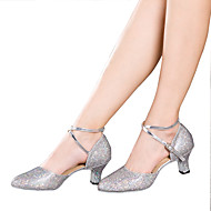 cheap Dance Shoes-Women's Latin Sparkling Glitter Paillette Synthetic Sandal Heel Sneaker Indoor Sequin Appliques Sparkling Glitter Ruffles Ruched