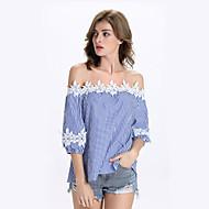 Mulheres Camiseta Casual Moda de Rua Verão,Listrado Azul Náilon Decote Canoa Manga ¾ Média