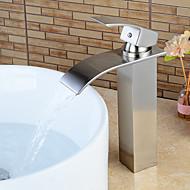 Kylpyhuone Sink hana - Vesiputous Harjattu nikkeli Integroitu Yksi kahva yksi reikäBath Taps / Messinki