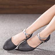 baratos Sapatilhas de Dança-Mulheres Sapatos de Dança Moderna Glitter / Paetês / Sintético Sandália / Salto / Têni Gliter com Brilho / Presilha / Fru-Fru Salto Cubano Não Personalizável Sapatos de Dança Cinzento / Marron