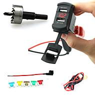 billiga Billaddare för mobilen-iztoss dubbla USB-laddare stickpropp rocker stil med voltmeter röda lysdioden och ledningar säkringshållaren och vrider drilli