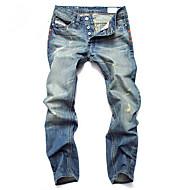 Bărbați Casual Talie Medie,Micro-elastic Drept Larg Blugi Pantaloni Bumbac Mată Primăvară Toate Sezoanele
