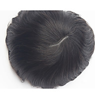 Indian Remy Hair PU Toupee Hair Wigs Replacement V loops Thin Skin Men's Toupee