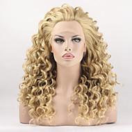 ファッション合成かつらレースフロントウィッグは巻き毛の黄色の耐熱毛は女性のかつら24inch