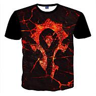 Masculino Camiseta Poliéster Estampado Manga Curta Casual / Formal / Esporte / Tamanhos Grandes-Preto