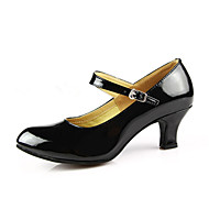 "cheap Modern Shoes-Women's Modern Ballroom PU Leather Patent Leather Heel Buckle Cuban Heel Burgundy Black Red Silver Gold 2"" - 2 3/4"" Non Customizable by Shall We®"