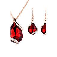 Mulheres Conjunto de Jóias Brincos Compridos Colares com Pendentes Colar / Brincos Cristal Rosa ouro Cristal Strass Liga Caído Fashion