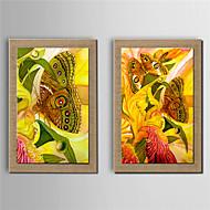 Håndmalte Blomstret/Botanisk Moderne,To Paneler Hang malte oljemaleri