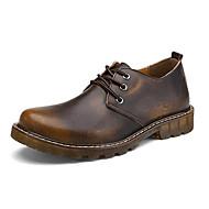baratos Sapatos de Tamanho Pequeno-Sapatos Masculinos Oxfords Marrom / Vermelho Couro Ar-Livre / Casual / Para Esporte