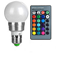 billige Globepærer med LED-3W E26/E27 LED-globepærer A50 1 Høyeffekts-LED 100-200 lm RGB Fjernstyrt AC 85-265 V 1 stk.