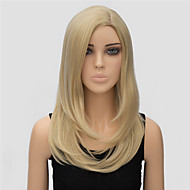 Women Synthetic Wig Medium Length Straight Blonde Side Part Halloween Wig Carnival Wig Costume Wig