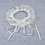 cheap Wedding Garters-Lace Stretch Satin Fashion Wedding Garter with Beading Ribbons Flower Garters