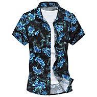 Klassisk krave Tynd Herre - Blomstret Bomuld Strand Plusstørrelser Skjorte