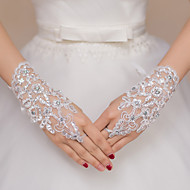 cheap Wedding Gloves-Lace Polyester Wrist Length Glove Bridal Gloves Party/ Evening Gloves With Rhinestone