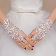 ieftine Mănuși de Nuntă-Dantelă / Polyester Lungime Încheietură Mănușă Mănuși de Mireasă / Mănuși de Party / Seară Cu Piatră Semiprețioasă