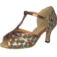 Women's Latin Ballroom Sparkling Glitter Leatherette Sandal Customized Heel Bronze Black Red Silver Customizable