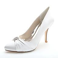 baratos Sapatos Femininos-Mulheres Sapatos Cetim Primavera / Verão Sapatos formais Sapatos De Casamento Salto Agulha Dedo Apontado Pedrarias Rosa claro / Champanhe