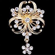 Dame Brocher - Simuleret diamant Blomst Luksus, Mode Broche Gylden Til Bryllup / Fest / Speciel Lejlighed