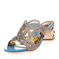 baratos Sapatos Femininos-Mulheres Sapatos Courino Verão Salto Robusto / Salto de bloco Cristais Azul / Dourado
