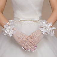 cheap Wedding Gloves-Lace Polyester Net Wrist Length Glove Bridal Gloves Party/ Evening Gloves With Floral