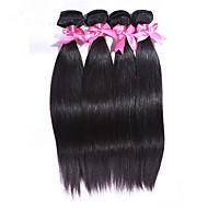 Echthaar Indisches Haar Menschenhaar spinnt Glatt Haarverlängerungen 4 Stück Naturfarbe