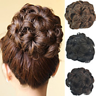 Wedding Bridal Updo Chignon Bun Flower Clip Synthetic Culry Hair Extensions More Colors