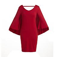Dámské Větší velikosti Netopýří rukávy Štíhlý Bodycon Volné Šaty - Jednobarevné, Volná záda Délka ke kolenům Červená