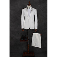 White Pattern Tailored Fit Polyester Suit - Peak Single Breasted One-button
