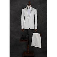 לבן דפוס גזרה מחוייטת פוליאסטר חליפה - סגור Single Breasted One-button