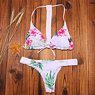 Žene Print Grudnjak s tankim naramenicama Bikini Kupaći kostimi Cvijetan Obala Crn Pink