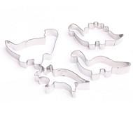 billige Kjeksverktøy-4pcs dinosaurkake kuttersmøt rustfritt stålkake fondantbakeform