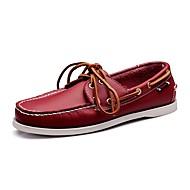billige Skosalg-Herre sko Lær Vår Høst Komfort Lette såler Båtsko Gange Snøring til Avslappet Kontor og karriere Hvit Svart Brun Rød Grønn