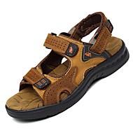 ieftine Sandale Bărbați-Bărbați Pantofi Nappa Leather Primăvară Vară Confortabili Decupat pentru De Atletism Casual Birou și carieră În aer liber Rochie Maro