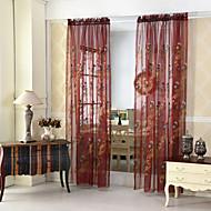 billige Gjennomsiktige gardiner-To paneler Rustikk / Moderne / Neoklassisk / Middelhavet / Europeisk Blomster / botanikk / Blad / vineBlå / Gull / Jorden / Mørkegrønn /